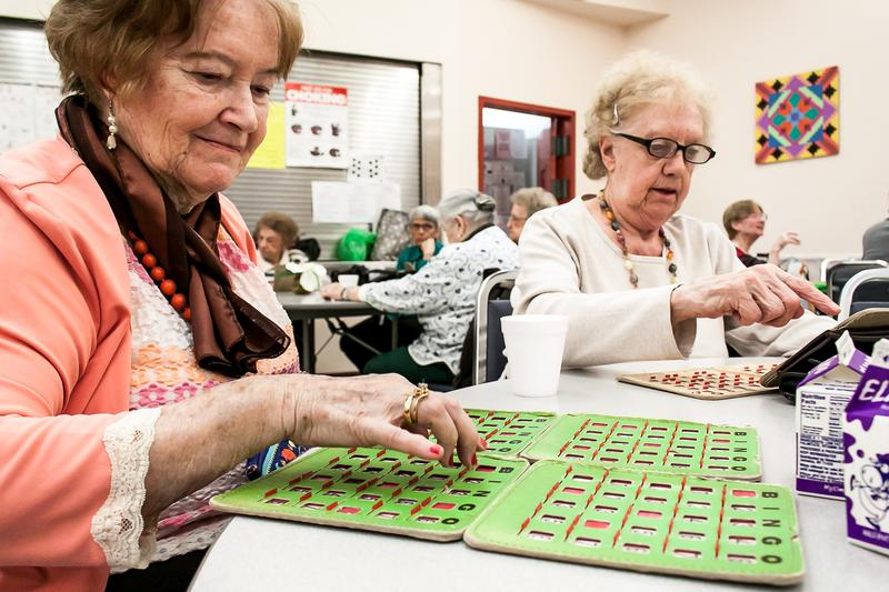 Mary Barron with her Bingo cards.