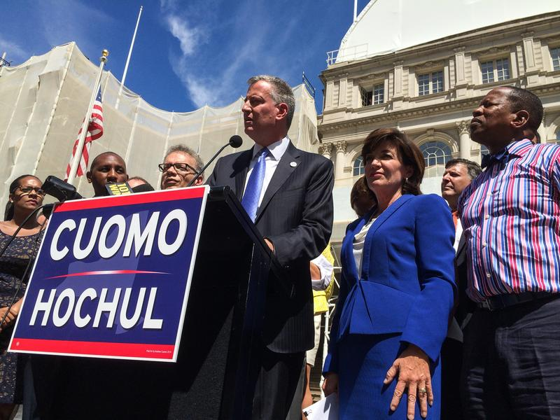 Mayor Bill de Blasio endorsed Kathy Hochul in the race for Lt. Gov. at City Hall on September 3, 2014.