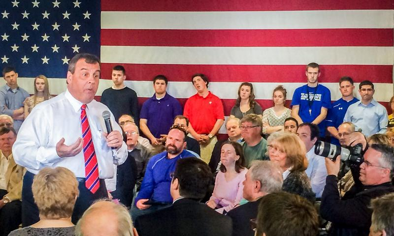 Gov. Chris Christie holds his first town hall outside New Jersey in Londonderry, NH.