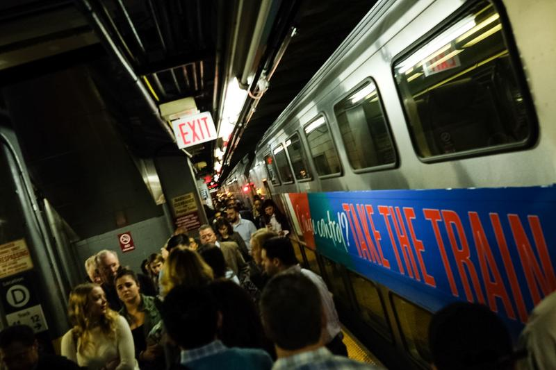 Crowded NJ Transit trains pull into Penn Station from Seacaucas after a crash in Hoboken shut that station down.