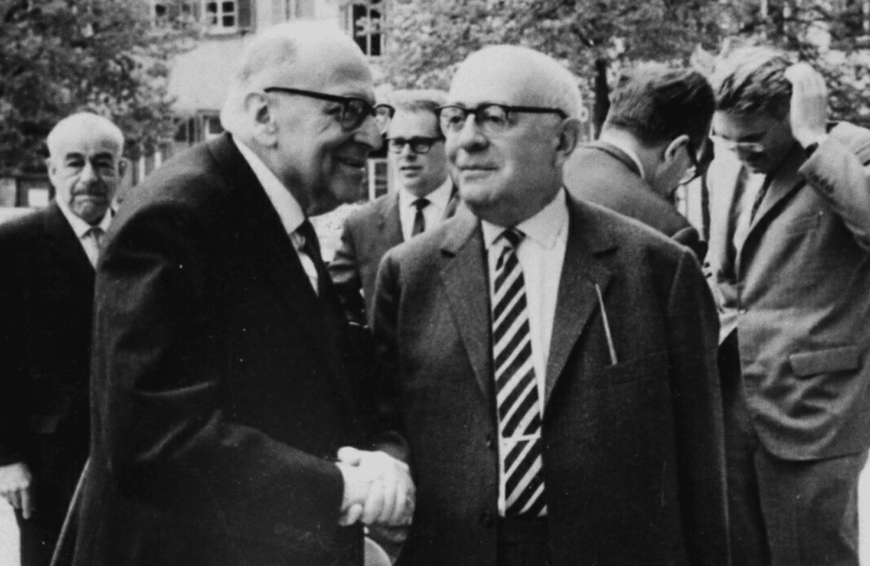 Photograph taken in Heidelberg, April 1964, by Jeremy J. Shapiro at the Max Weber-Soziologentag. Horkheimer is front left, Adorno front right, and Habermas is in the background, right.