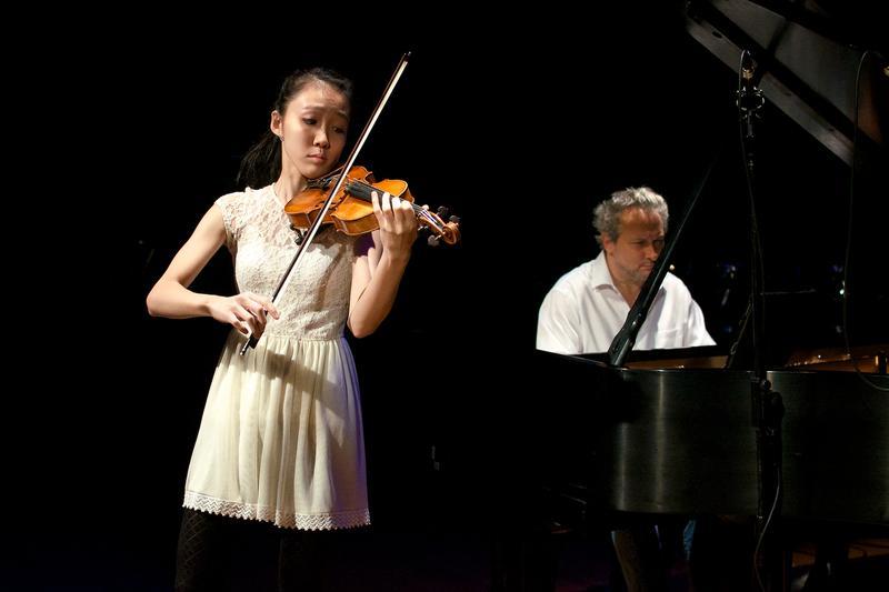 Violinist Alissa Mori with Christopher O'Riley.