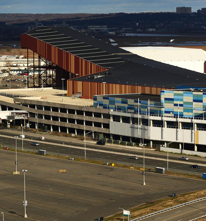 A view of the American Dream Meadowlands complex, which includes a large indoor ski jump