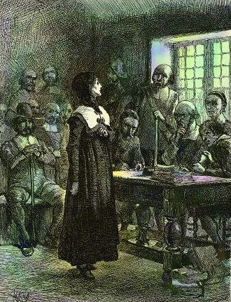 Anne Hutchinson on trial.