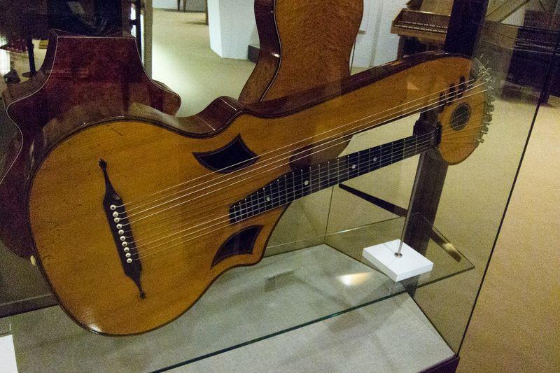 Antique harp guitar exhibited at Berlin