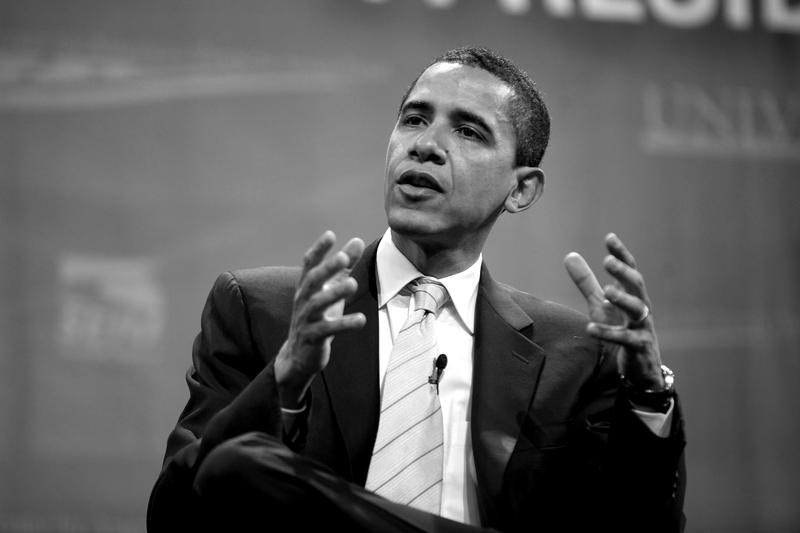 Then presidential candidate Barack Obama at forum in Las Vegas in 2008.