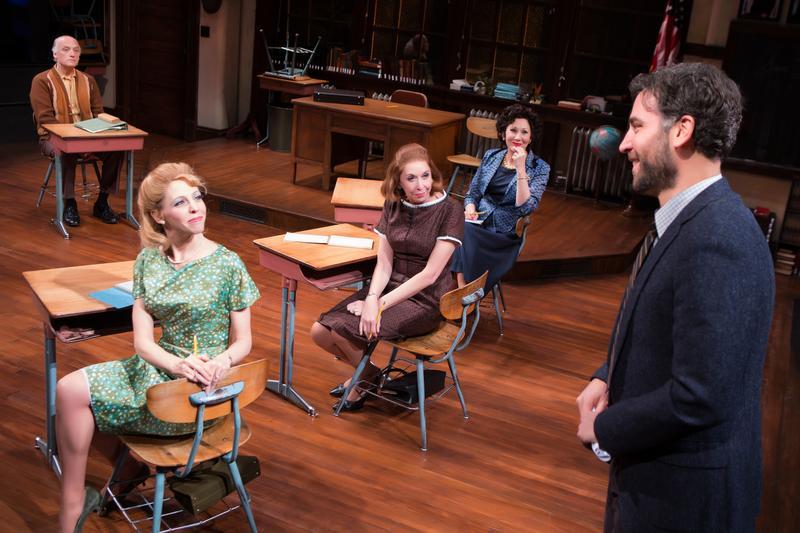 "Frank Wood, Maddie Corman, Julie Halston, Randy Graff, and Josh Radnor in ""The Babylon Line"" at Lincoln Center Theater"