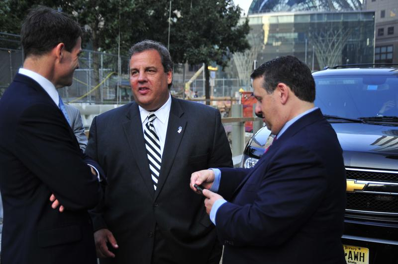 (From Left to Right) Bill Baroni, Governor Chris Christie, and David Wildstein talk at World Trade Center Site, September 11, 2013
