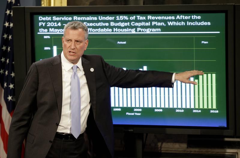 Mayor Bill de Blasio presents the 2015 city budget at City Hall on May 8, 2014 in New York City.