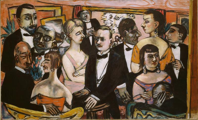 "Guests at a reception of Max Beckmann's works in Paris in 1931. Beckman painted over an earlier painting from 1925 and then made revisions nearly two decades later. ""Paris Society"" (1931-1947"