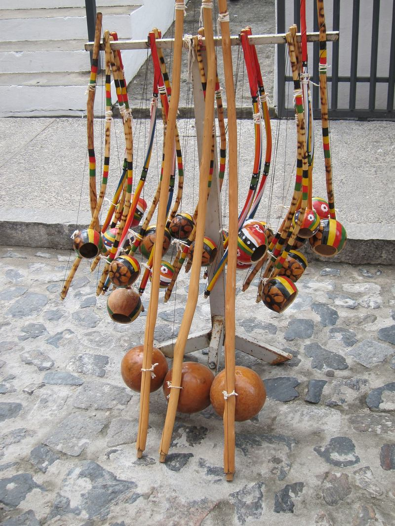 Berimbau being sold on the street in Salvador, state of Bahia, Brazil