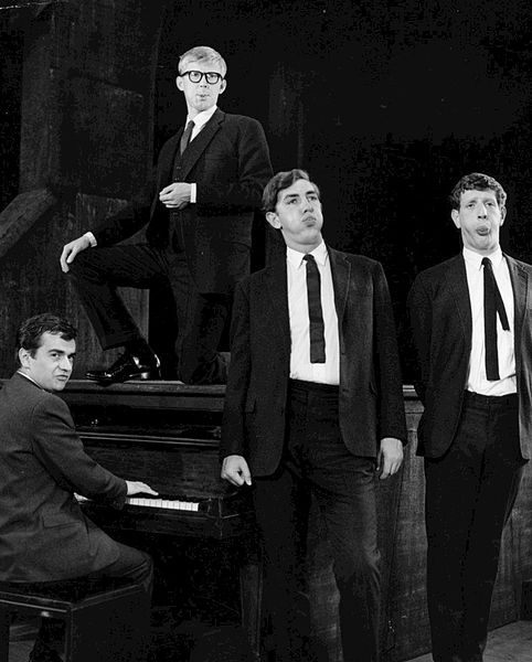 Original cast of Beyond the Fringe. From left Dudley Moore, Alan Bennett, Peter Cook (actor) and Jonathan Miller. The revue played on Broadway from 1962 to 1964.