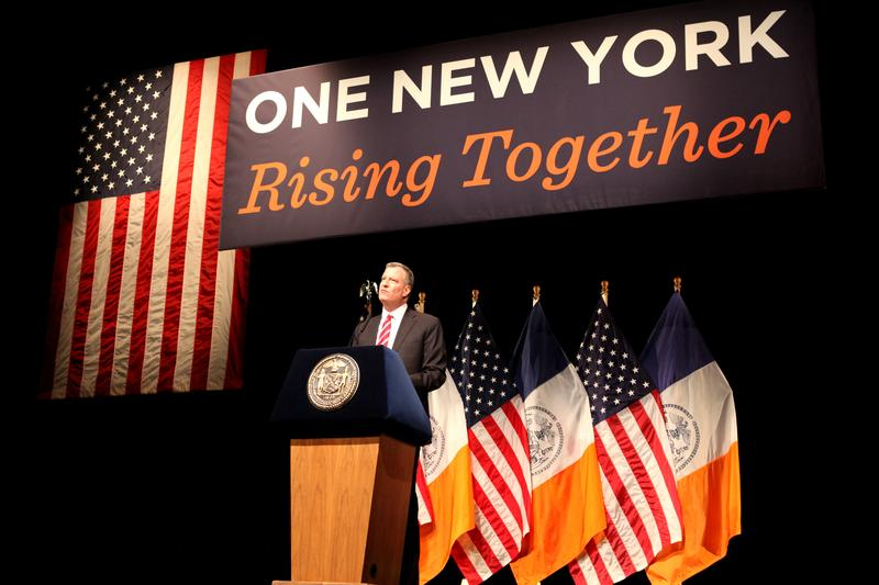 Mayor Bill de Blasio delivers his first State of the City speech at LaGuardia Community College on February 10, 2014.
