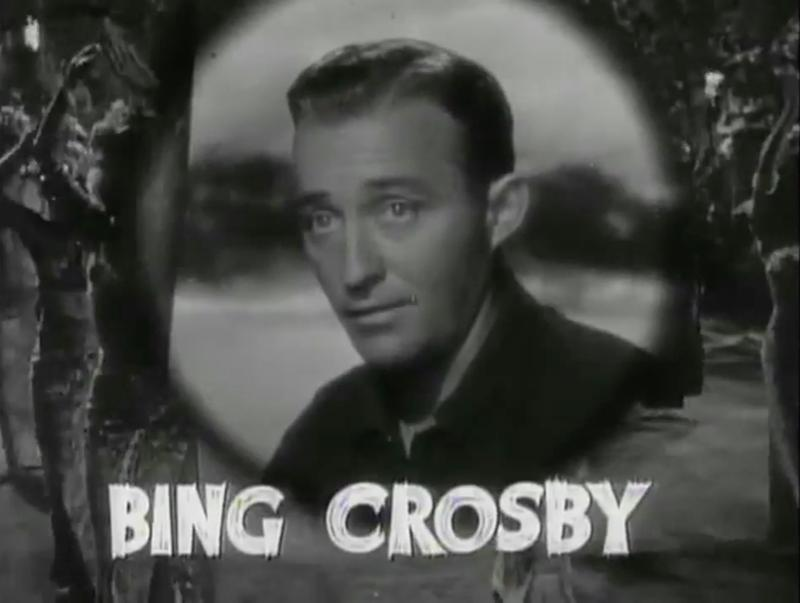 Cropped screenshot of Bing Crosby from the trailer for the film Road to Singapore.