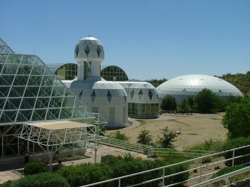 "View of Biosphere 2, ""Habitat & Lung"" located in Oracle, Arizona."