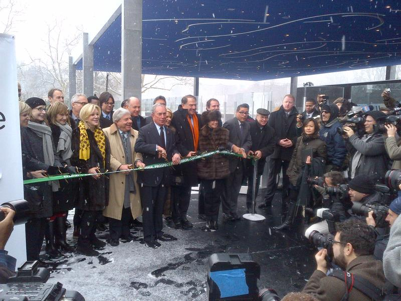 Mayor Bloomberg at the ribbon cutting for the LeFrak Center in Prospect Park.