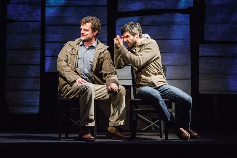 (from left) Michael Cumpsty and Michael Crane in the Primary Stages production of The Body of an American by Dan O'Brien, directed by Jo Bonney at Primary Stages at the Cherry Lane Theatre.