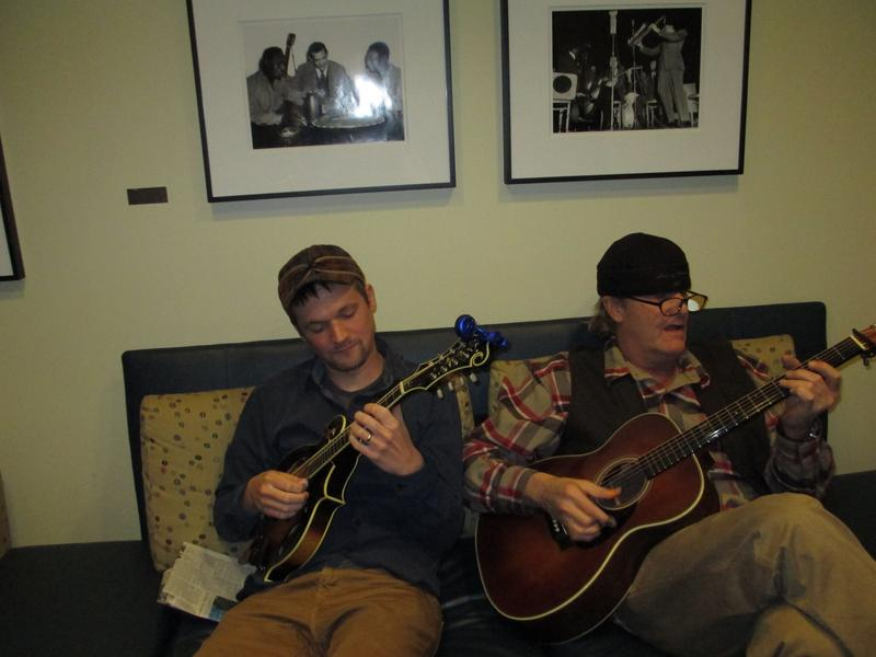 Mandolin player Brad Phillips and actor-musician Jeff Daniels in the WNYC Green Room