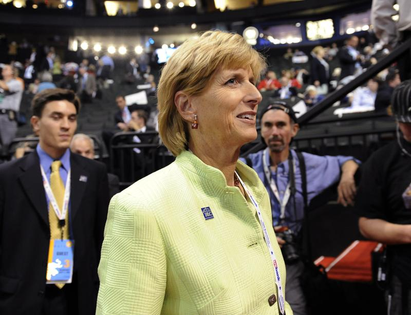 Christine Todd Whitman walks on the floor of the Republican National Convention in St. Paul, Minn., Wednesday, Sept. 3, 2008.