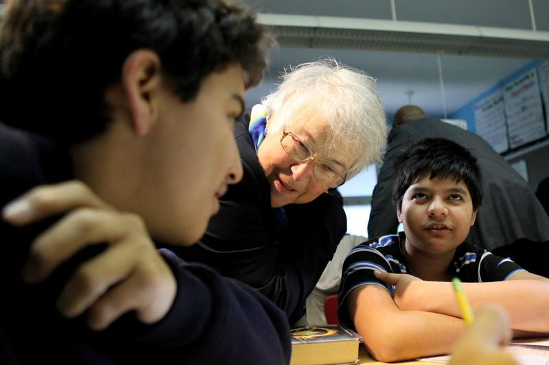 Schools Chancellor Carmen Farina visits a middle school classroom at J.H.S. 088 Peter Rouget  in Park Slope.