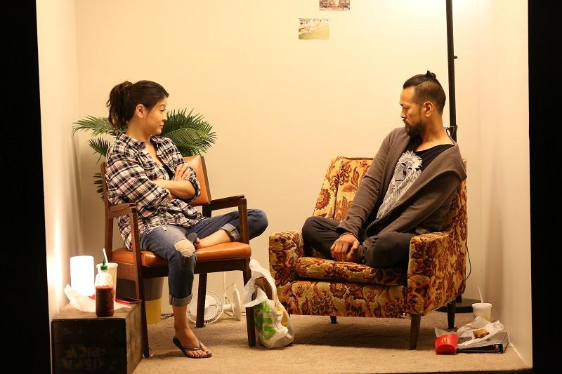 """(L-R) Jennifer Lim and Louis Ozawa Changchien in """"Caught,"""" a Play Company production that's taking place at La Mama."""