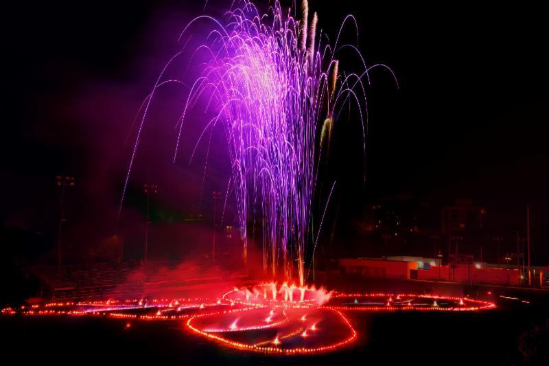 Judy Chicago, A Butterfly for Pomona, 2012. Fireworks and flares, 170' x 210'. Performance at Pomona College, Claremont, CA as part of Getty PST Performance Festival.