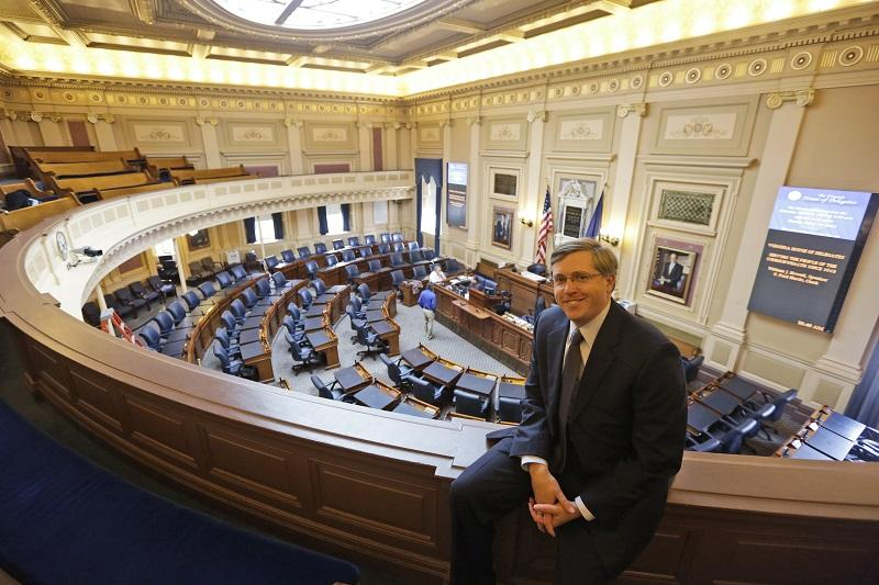 In this March 19, 2014, photo, Chris Jankowski the architect of the GOP's gerrymandering effort in Virginia poses in the Gallery of the Virginia House of Delegates at the Capitol in Richmond, Va.