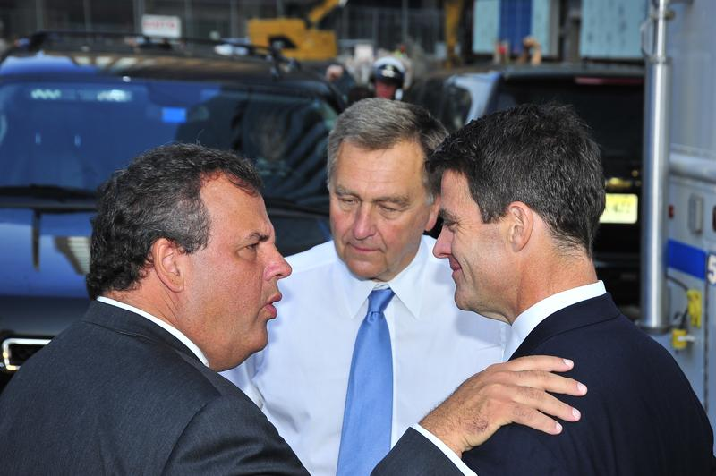 (From Left to Right) Governor Chris Christie, former Port Authority Chairman David Samson, and former Port Authority Deputy Director Bill Baroni speak at World Trade Center Site, September 11, 2013