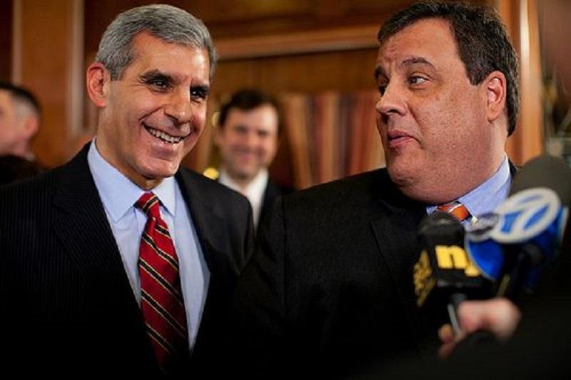 Gov. Chris Christie with State Sen. Joe Kyrillos in 2012