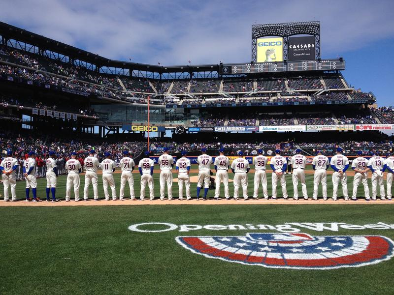 The Mets line up on opening day at Citifield.