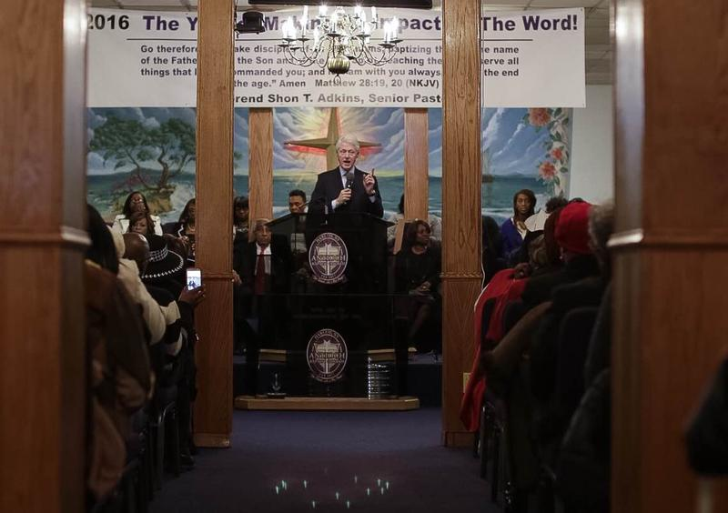 Former President Bill Clinton at Antioch Baptist Church in Harlem on Sunday, April 10, 2016.