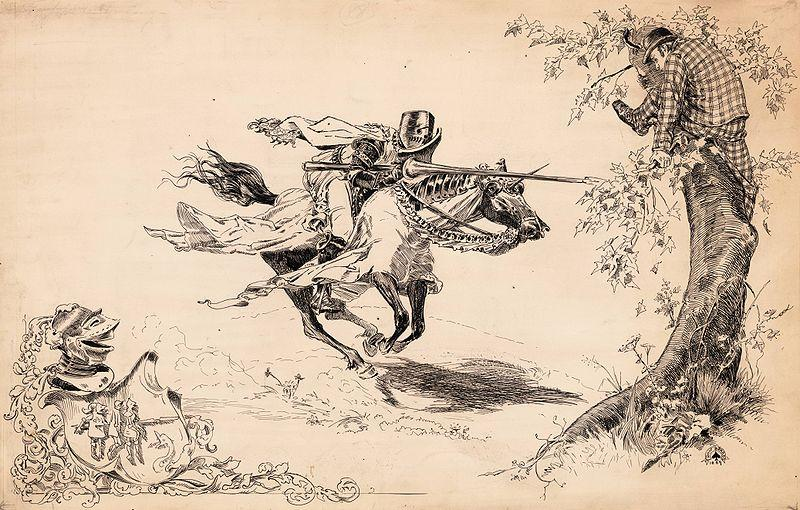 A Connecticut Yankee in King Arthur's Court /Charles L. Webster & Co., 1889. Knight tilting at man in modern dress in tree.