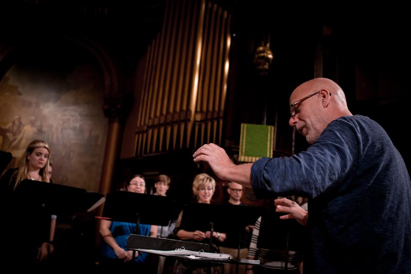 Donald Nally conducting The Crossing at the Church of the Holy Trinity