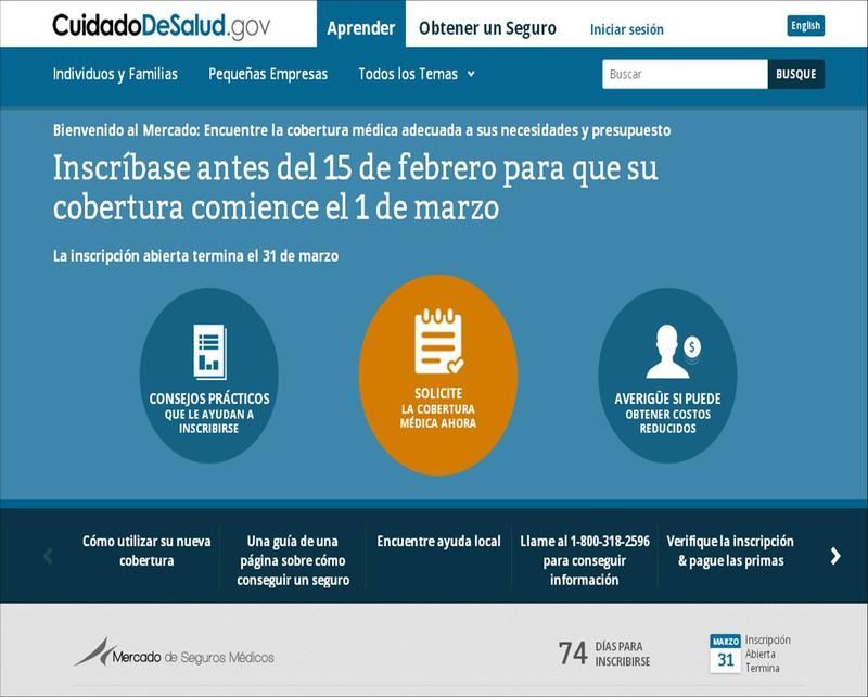 Screenshot of Spanish-language Affordable Care Act marketplace website.