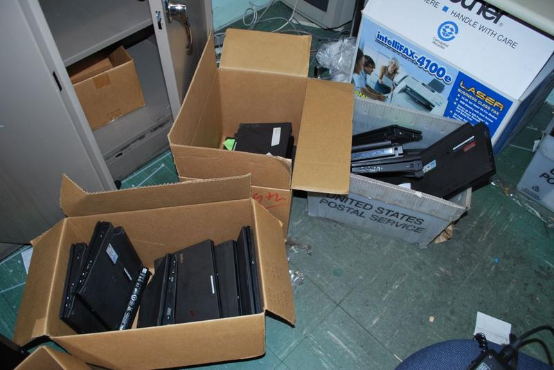 Mothballed laptops locked inside a storage closet at Hoboken Junior Senior High School. School staff will inventory them and hire a recycling company to discard them.