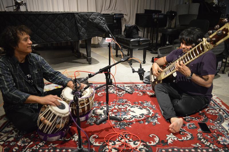 Tabla master Zakir Hussain and sitar virtuoso Niladri Kumar at WNYC