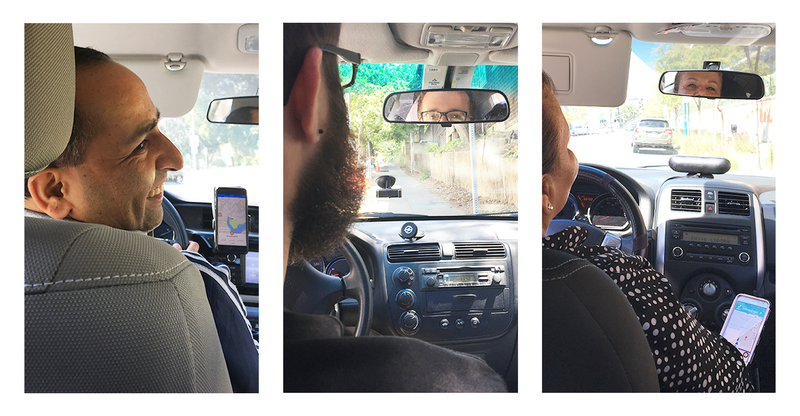 Interviewing Uber drivers from the back seat.