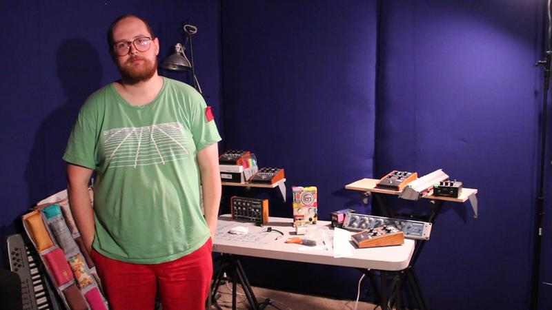 Dan Deacon in the soundproofed portion of his studio in Baltimore, Md.