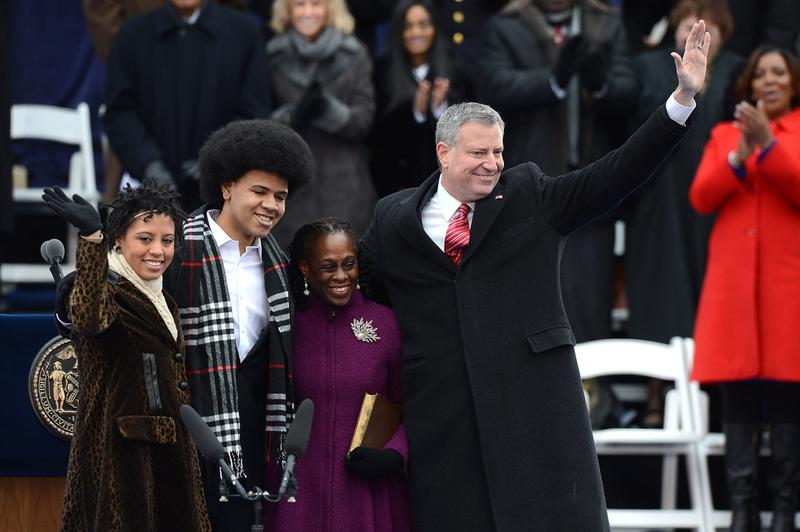 Mayor de Blasio with First Lady Chirlane McCray, Dante and Chiara de Blasio at his inauguration