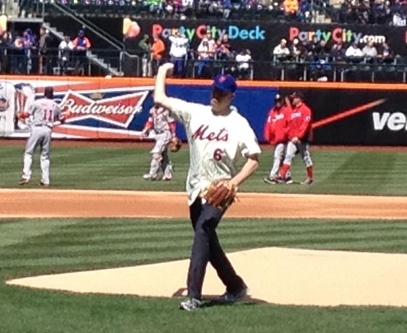 Mayor Bill de Blasio hurls a first pitch strike on opening day at Citifield.