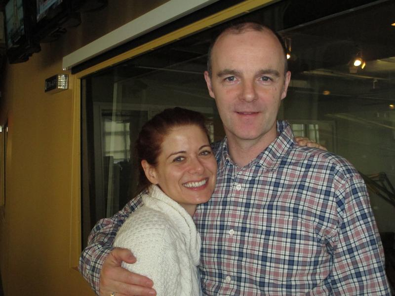 Debra Messing and Brian F. O'Byrne in the WNYC studios
