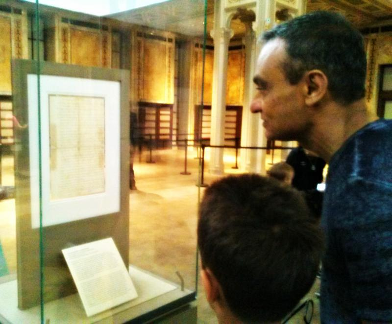 Visitors read the copy of the Declaration of Independence