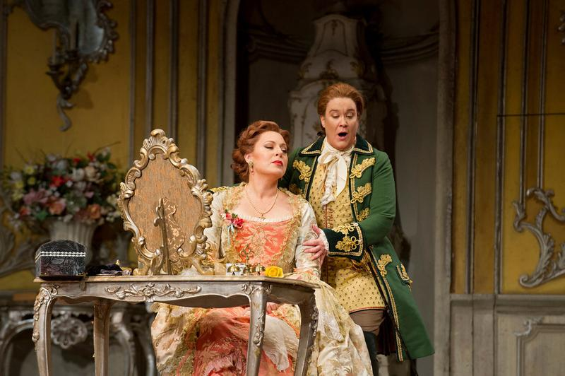 "Martina Serafin as the Marschallin and Alice Coote as Octavian in Strauss's ""Der Rosenkavalier."""