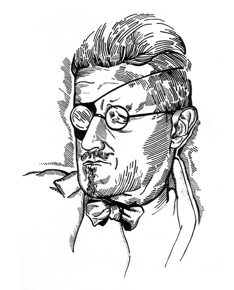 1922 drawing of Joyce by Djuna Barnes