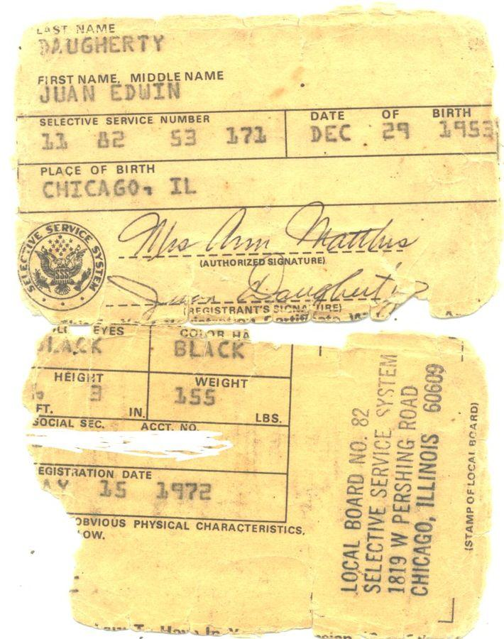 Image of remains of Vietnam War draft card.