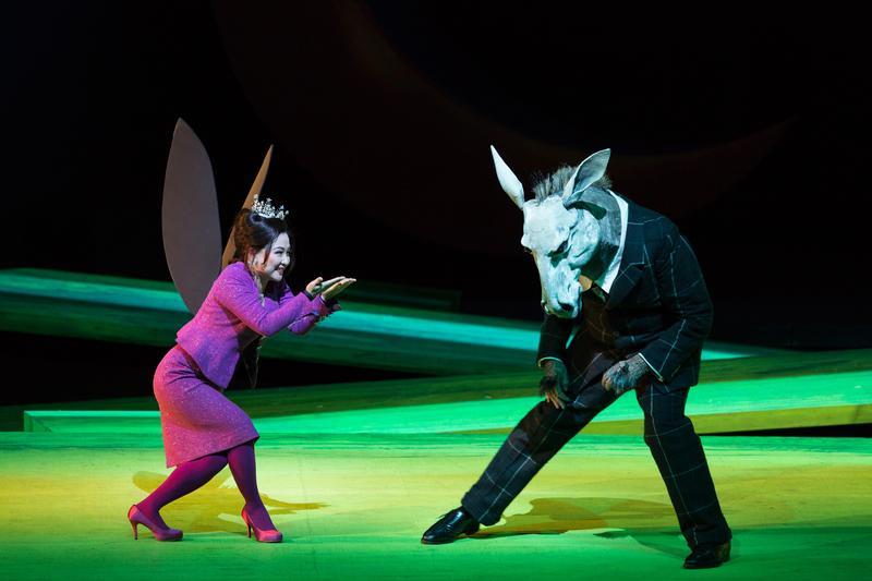 "Kathleen Kim as Tytania and Matthew Rose as Bottom in Britten's ""A Midsummer Night's Dream."""