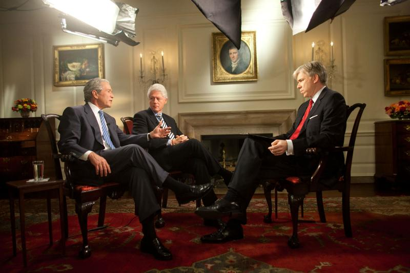 David Gregory on set with former Presidents Bill Clinton and George W. Bush.