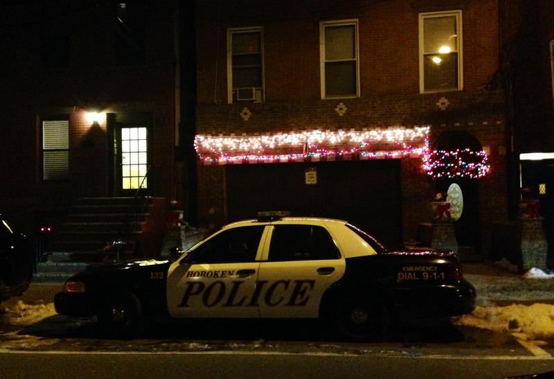 Outside of the home of Dustin Friedland and his wife, in Hoboken, N.J.