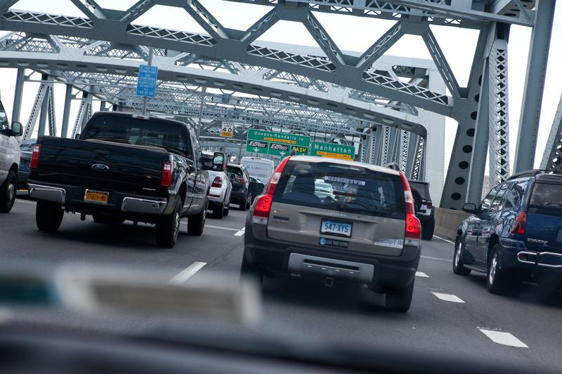 Traffic back ups leading to the toll plaza on the BQE.