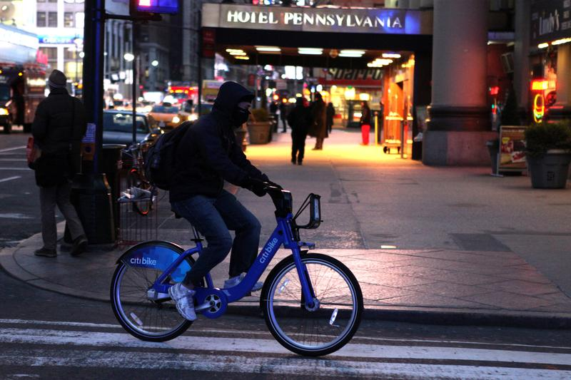 Citibike commuters brave frigid temperatures as a polar vortex hits the city on January 7, 2014.